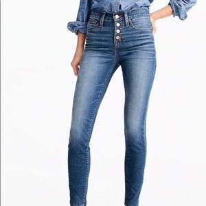 JCrew button fly jeans toothpick jeans.